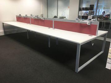 Used 1600mm White 6 Person Bench Desk - Price Per Position