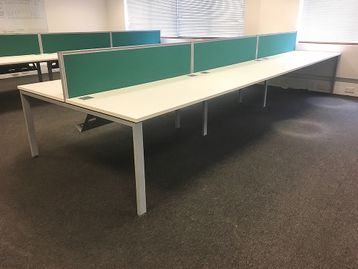 Used 1600mm White Bench Desks - Price is per position