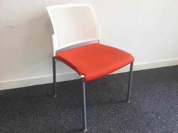 Used Boss Design Stacking Chairs with Orange Fabric Seats
