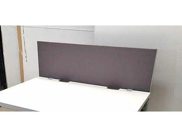 Adjustable fabric desk dividing screens.