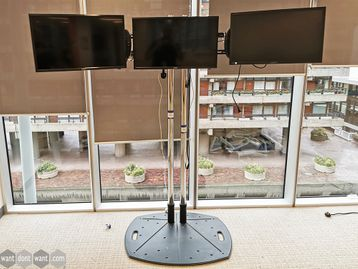 Used Floor Standing Monitor Stand Including 3 x Monitors