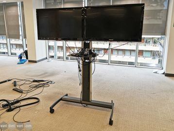 Used Floor Standing Monitor Stand Including 2 x Monitors