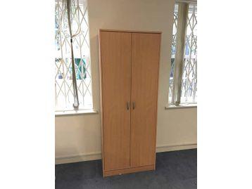 Beech tall double door storage cupboards including 4 shelves per unit