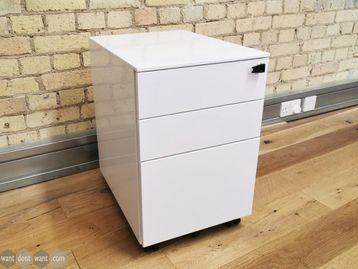 Used White 3 Drawer Steel Under Desk Pedestals