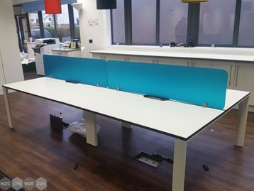 Used 1600mm White Bench Desks with Dividing Screens