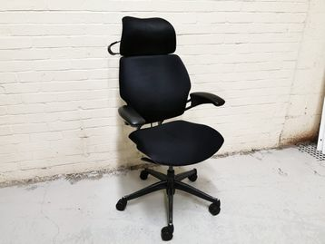 Used Humanscale Freedom Chair in Black Fabric with Headrest and Coat Hanger