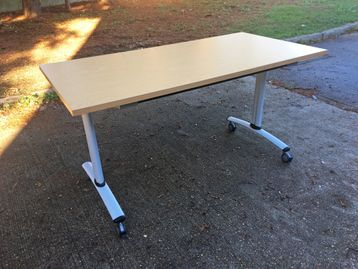 1400mm Flip-top Folding office Meeting/Conference Tables with Beech Tops and Silver Legs on Castors