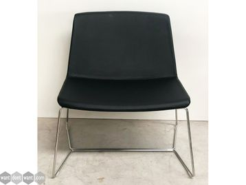 Brand New Contemporary Black Faux Leather Chairs with Chrome Sled Frame