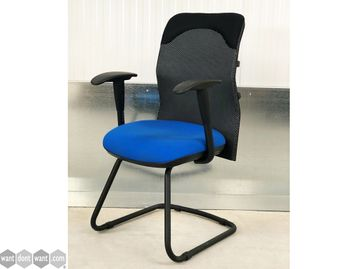 Brand New Mesh Back Cantilever Chair with Blue Fabric Seat