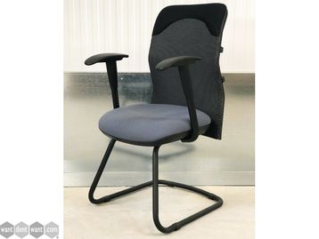 Brand New Mesh Back Cantilever Chair with Grey Fabric Seat