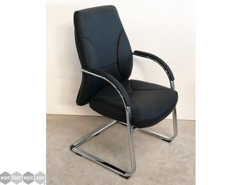 Brand New Italian Designed Black Leather Cantilever Boardroom Chair