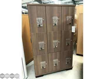 Brand New Elite Office Furniture English Walnut 9 Compartment Locker