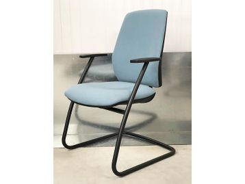 Brand New Contemporary Office Meeting Chairs fully upholstered in blue fabric with a black cantilever frame and integral arm rests