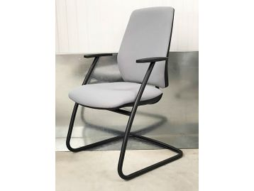 Brand New Contemporary Office Meeting Chairs fully upholstered in grey fabric with a black cantilever frame and integral arm rests