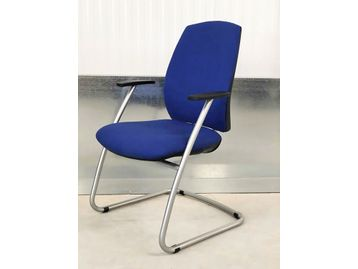 Brand New Contemporary Office Meeting Chairs fully upholstered in Royal Blue fabric with a silver cantilever frame and integral arm rests