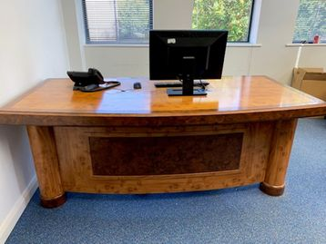 Used Executive Office Suite Including Incredible Veneered Desk, Return and Pedestal