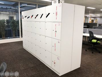 Used White 4 Compartment Lockers