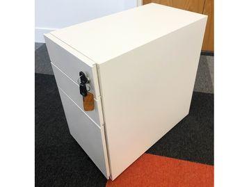 Used Slim White Under Desk Pedestals