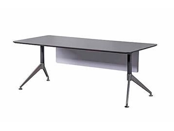 Brand New Chamfered Executive Straight Desk with Anthracite Top, Stylish Silver Legs and Modern White Modesty Panel
