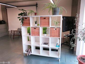 Used IKEA Kallax 16 Compartment Storage Unit on Wheels
