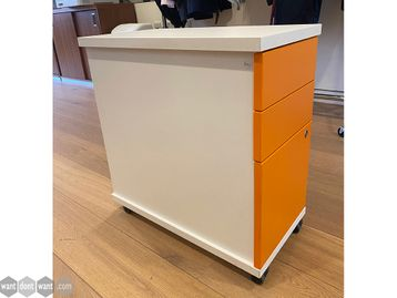 Used Slim-line 3-drawer pedestals with white carcass and orange drawer fronts