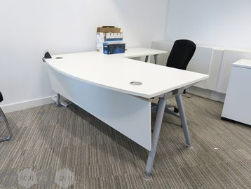 Used 1800mm Senator 'Core' Bow Fronted White Executive Desk with Return