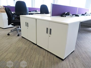 Used White End of Desk Storage Cupboards with Shared Top