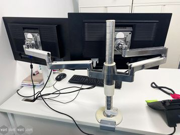 Used White & Chrome Monitor Arms with VESA Plates and Desk Clamps