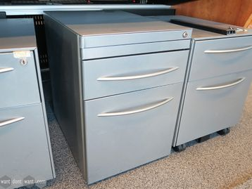 Used Silver 2 Drawer Under Desk Pedestals