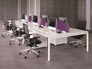 Fabulous white bench desks, so many configurations and accessories - prices from