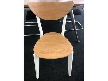 Used Ikea NORDMYRA Bamboo/White Stacking Chairs
