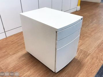 Used White 3 Drawer Bow Fronted Under Desk Pedestals