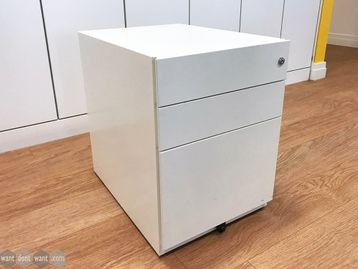 Used White 3 Drawer Under Desk Pedestals