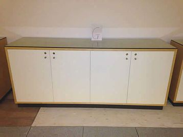 Double door Credenza with contrasting white doors and glass top