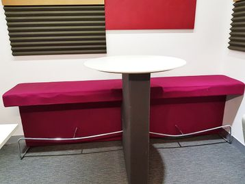 Used Presentation Plinth with Bench Seating and Table