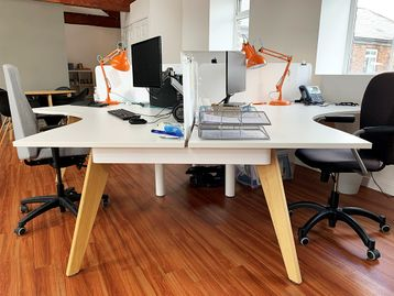Used 3 Person Cluster Desks with Oak Legs and Perspex Screens