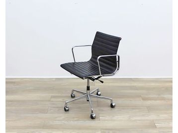 Black Leather Office Swivel Chairs with polished 5 Star Base