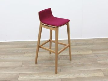 Used Stool with Pink Fabric Seat