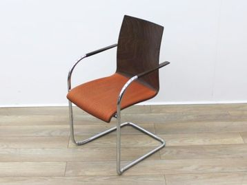Used Walnut Chair with Fabric Seat and Cantilever Frame