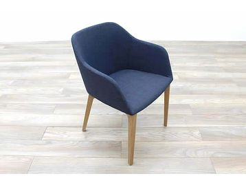 Brand New Brunner Fina reception chairs upholstered in blue contrast fabric.