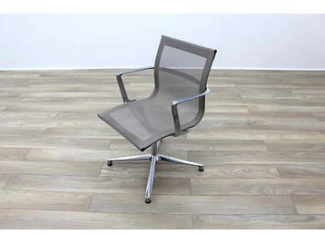ICF Executive Una meeting chairs with grey mesh and chrome frame.