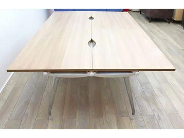 1200mm Herman Miller Abak Bench Desks with Walnut Tops And Polished Frame