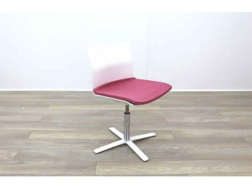 Dynamobel White Back Pink Fabric Seat Meeting Office Chairs