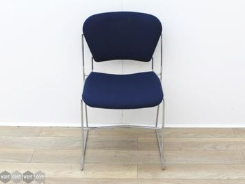 Used Blue Stacking Chairs with Chrome Frame