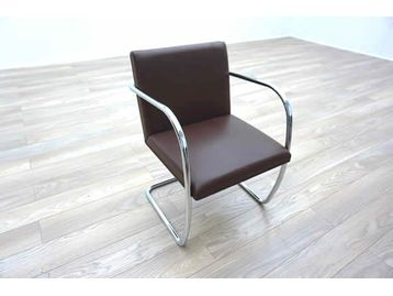Knoll Studio 'Brno' chairs designed by Mies Van Der Rohe upholstered in quality brown hide.