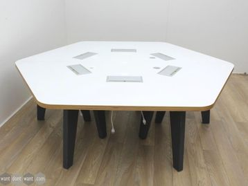 Used 6 Person Hexagonal Bench Desk