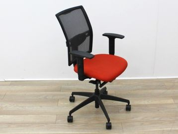 Used Mesh Back Operator Chairs with Red Fabric Seats