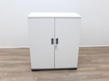 Used White Double Door Storage Cupboard with Shelves