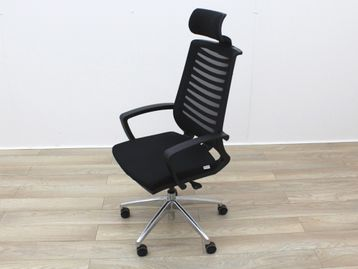 Used Black Operator Chair With Fabric Seat and Mesh Back