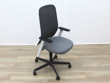 Used Bene Operator Chair With Grey Fabric Seat and Black Mesh Back